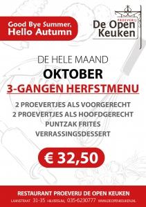 Herfstmenu restaurant De Open Keuken Hilversum 3-gangen